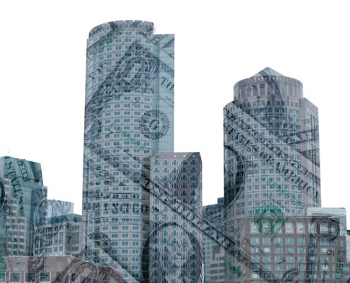 the Boston skyline overlaid with money.